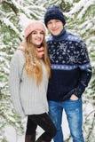 Glückliche lächelnde Paare im Winterwald Lizenzfreie Stockbilder
