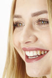 Glückliche lachende junge blonde Frau Lizenzfreie Stockbilder