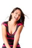 Glückliche lachende junge Frau stockbild