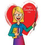 Glückliche Lehrer-Tageskarte lizenzfreie abbildung