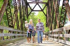 Glückliche Leute-gehender Hund der vierköpfigen Familie draußen auf Brücke Stockfotografie