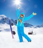 Glückliche Mädchen- und vintertätigkeit Lizenzfreies Stockbild