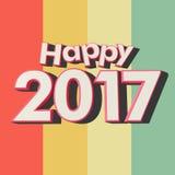 Glückliche 2017 mehrfarbige Streifen Stockfoto