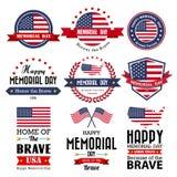 Glückliche Memorial Day -Vektorgrußkarte, -ausweis und -aufkleber Stockfotos