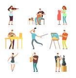 Glückliche Menschen der Kunst und der Musik Karikaturkünstler- und -musikervektor lokalisierte Charaktere in den kreativen künstl lizenzfreie abbildung