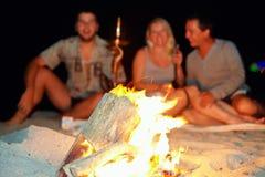 Glückliche Menschen, die Spaß um das Feuer haben Stockbild