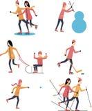 Glückliche Menschen tun Wintersportaus-vontüren Flache Designvektorillustration Stockfoto