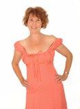 Glückliche mittlere gealterte Frau lizenzfreie stockbilder