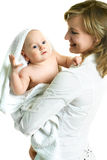 Glückliche Mutter mit ihrem Schätzchen Stockbild