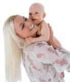Glückliche Mutter mit Schätzchen stockbilder