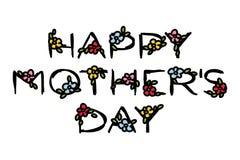 Glückliche Mutter ` s Tagesbeschriftung mit netten Blumen auf einem Weiß Lizenzfreie Stockfotos