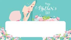 Glückliche Mutter ` s Tagesgrußkarte Nahes hohes Porträt der jungen Schönheit attraktiv mit Tulpenblumen Dekorativer Hintergrund  lizenzfreie abbildung