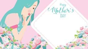 Glückliche Mutter ` s Tagesgrußkarte Nahes hohes Porträt der jungen Schönheit attraktiv mit Tulpenblumen Dekorativer Hintergrund  stock abbildung