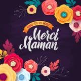 Glückliche Mutter ` s Tagesgrußkarte Rose Floral Background und goldenes Band Kreide-Kalligraphie-Text auf Violet Chalkboard stock abbildung