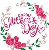 Glückliche Mutter ` s Tagesgrußkarten-Vektorillustration Übergeben Sie Beschriftungskalligraphie-Feiertagshintergrund im Blumenra stock abbildung