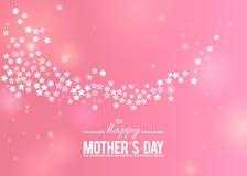 Glückliche Mutter ` s Tagesrosa-Grußkarte mit Grenze der weißen Blumen lizenzfreie abbildung