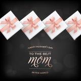 Gl?ckliche Mutter-Tagesfahnen-Geschenkbox-Gru?-Karte vektor abbildung