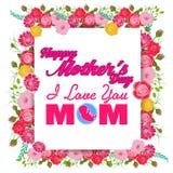 Glückliche Mutter-Tagesgrußkarte mit Blumen Lizenzfreie Stockbilder