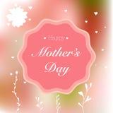 Glückliche Mutter-Tageskarte mit von Hand gezeichneten Elementen auf Rosa verwischte Hintergrund Stockfotografie