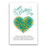 Glückliche Mutter-Tagespostkarte Inneres geformte Auslegung Lizenzfreie Stockfotos