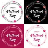 Glückliche Mutter-Tagesvektor-Beschriftung stellte mit Herzform und -blumen ein Bemuttern Sie ` s Tageskarte mit Gekritzelkreisra Stockfotografie