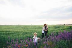 Glückliche Mutter und ihre Söhne sind auf dem, die Lavendel und dem Lupine archiviert werden lizenzfreie stockfotos
