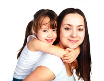 Glückliche Mutter und Tochter stockfotografie