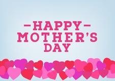 Glückliche Muttertagaufschrift auf unscharfem weichem Hintergrund Feiergruß-Kartendesignschablone Lizenzfreie Stockfotografie