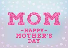 Glückliche Muttertagaufschrift auf unscharfem weichem Hintergrund Feiergruß-Kartendesignschablone Stockbild