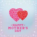 Glückliche Muttertagaufschrift auf unscharfem weichem Hintergrund Feiergruß-Kartendesignschablone Lizenzfreie Stockbilder