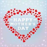 Glückliche Muttertagaufschrift auf unscharfem weichem Hintergrund Feiergruß-Kartendesignschablone Stockfotografie