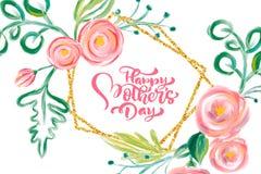 Glückliche Muttertageshand, die Text mit schönen Aquarellblumen beschriftet Auch im corel abgehobenen Betrag Gut f?r Gru?karte, P vektor abbildung
