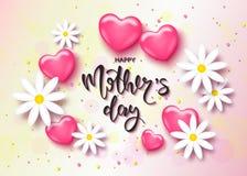 Glückliche Muttertageskartenschablone mit nettem rosa Herzen und hamomile Es wird für Hintergrund, Plakat, Werbung, Verkauf, post Stockfoto