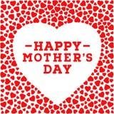 Glückliche Muttertagpostkarte Grenze mit roten Herzen auf weißem Hintergrund Grußkartendesignschablone Lizenzfreies Stockbild