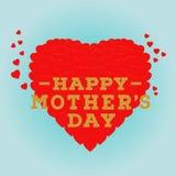 Glückliche Muttertagpostkarte mit einem blauen Hintergrund Feiergruß-Kartendesignschablone Lizenzfreies Stockfoto