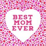 Glückliche Muttertagpostkarte mit stilisierten Herzsymbolen Beste Aufschrift der Mutter überhaupt Stockfotografie