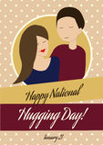 Glückliche nationale umarmende Tageskarte in der Weinlese-Art Lizenzfreie Stockfotos