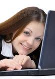 Glückliche nette Frau mit Lizenzfreie Stockfotos