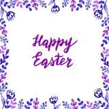 Gl?ckliche nette Handgezogene Karte Ostern mit Beschriftung und Aquarellblumen und -bl?tter vektor abbildung