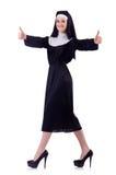 Glückliche nette victress Nonne thums oben Stockfoto
