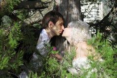 Glückliche neu-verheiratete Paare Lizenzfreie Stockbilder