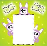Glückliche Osterhasen-Einladung/Karte Lizenzfreies Stockbild