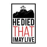 Glückliche Ostern-Abbildung Jesus starb, dass ich möglicherweise lebe stock abbildung