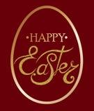 Glückliche Ostern-Beschriftung auf dem Ei Stockfoto