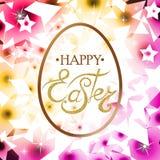 Glückliche Ostern-Beschriftung auf dem Ei Lizenzfreies Stockbild