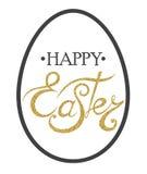 Glückliche Ostern-Beschriftung auf dem Ei Lizenzfreies Stockfoto