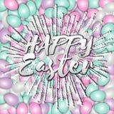 Glückliche Ostern-Beschriftung auf einem Hintergrund von farbigen Eiern Bettwäschefarben vektor abbildung