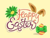 Glückliche Ostern-Beschriftung mit dem Kaninchen-Ei und Blume lokalisiert Stockfotografie