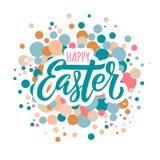 Glückliche Ostern-Beschriftung und -kreise lizenzfreie abbildung