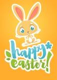 Glückliche Ostern-Beschriftungskarte mit Karikaturhäschen Hand gezeichnet, Plakat für Ostern beschriftend Moderner Kalligraphieve Stockbilder